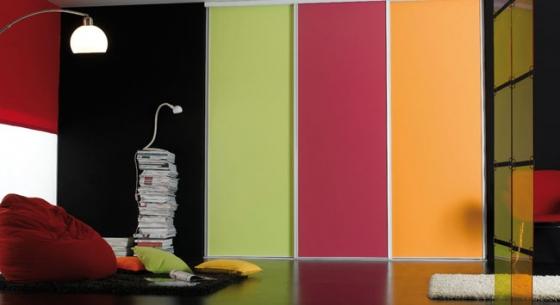 Façades de Placards Strass laqué blanc 3 vantaux dont un décor vert