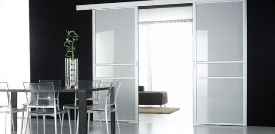 Séparation de pièce vitre laquée acier métallisé modèle Trio Ruban